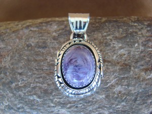 Native American Jewelry Sterling Silver Charoite Pendant - Andrew Vandever - TT0131
