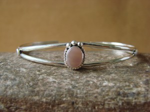 Navajo Indian Jewelry Sterling Silver Pink Shell Bracelet by J. Mariano