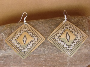 Native American Sterling Silver Hand Stamped Earrings by Tahe