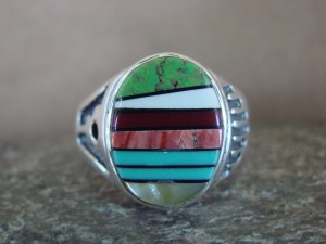 Zuni Indian Sterling Silver Turquoise Inlay Ring Size 12 1/2 - Bevis Tsadiasi