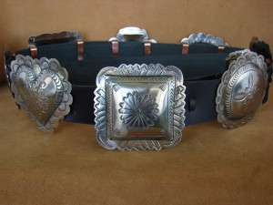Native American Jewelry Hand Stamped Nickel Silver Concho Belt Carson Blackgoat BLT099