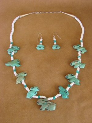 Zuni Hand Carved Turquoise Mountain Rabbit Necklace & Earrings Set