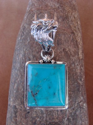 Native American Jewelry Sterling Silver Eagle Turquoise Pendant