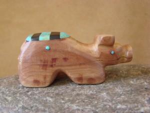 Zuni Indian Carved Cedar Pig Fetish by Brandon Phillips! Native American