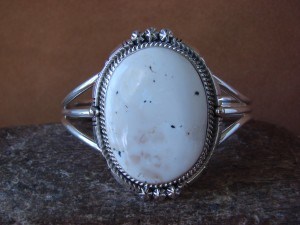 Native American Sterling Silver White Buffalo Turquoise Bracelet by Daniel Benally