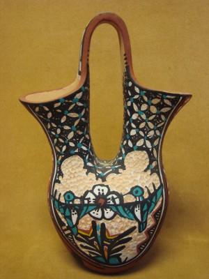 Native American Jemez Pueblo Pottery Clay Hummingbird Wedding Vase