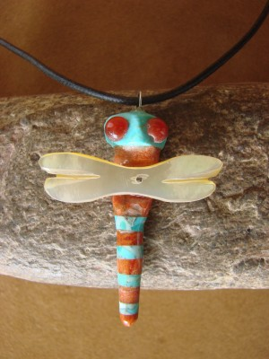 Hand Carved Turquoise & Apple Coral Dragonfly Fetish Necklace by Matt Mitchell!