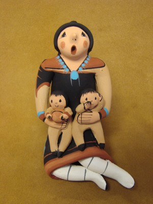 Jemez Pueblo Indian Handmade Clay Storyteller by J. Lucero