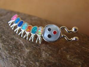 Zuni Indian Caterpillar Pin Opal Sterling Silver-  Emma Edaakie