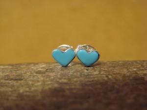 Zuni Indian Sterling Silver Petite Turquoise Post Heart Earrings - Neha
