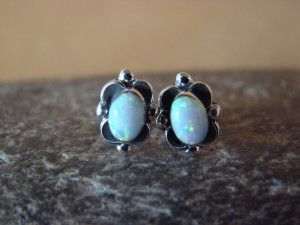 Native American Jewelry Sterling Silver White Oval Opal Post Earrings! Zuni Indian