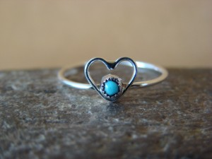 Small Zuni Indian Sterling Silver Turquoise Heart Ring, Size 5 - Pablito