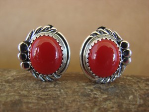 Native American Sterling Silver Coral Clip On Earrings by Delores Cadman