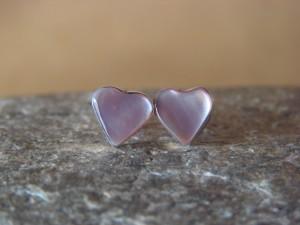 Small Zuni Indian Jewelry Sterling Silver Shell Heart Post Earrings!