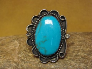 Navajo Indian Jewelry Nickel Silver Turquoise Ring Size 9 1/2, Glen Nez