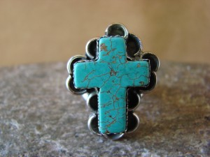 Native American Nickle Silver Turquoise Ring Size 5, by Phoebe Tolta