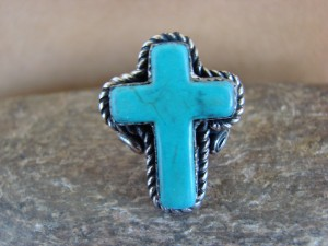 Native American Nickle Silver Turquoise Cross Ring Size 5 1/2, by Phoebe Tolta
