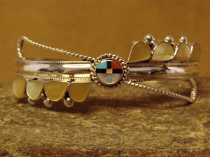 Zuni Indian Jewelry Sterling Silver Inlay Sunface Bracelet by Ahiyite