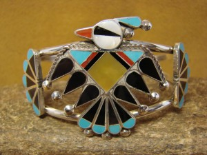 Zuni Indian Jewelry Sterling Silver Turquoise Inlay Thunderbird Bracelet by Wallace