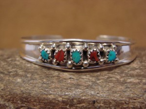 Navajo Indian Sterling Silver Turquoise & Coral Row Baby Bracelet by J. Lincoln