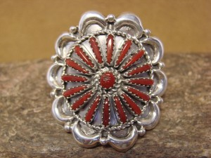 Navajo Indian Sterling Silver Coral Cluster Ring, Size 9 1/2 by K. Wilson