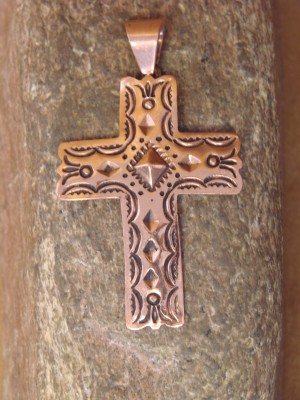 Native American Jewelry Copper Cross Pendant by L. Willie
