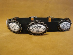 Navajo Indian Stamped Silver White Howlite Concho Belt by Jackie Cleveland!