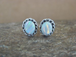 Small Native American Jewelry Sterling Silver Opal Oval Post Earrings! Navajo Indian
