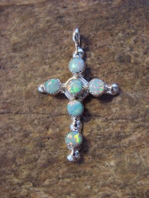 Zuni Indian Jewelry Sterling Silver Opal Cross Pendant by Gerald Siutza