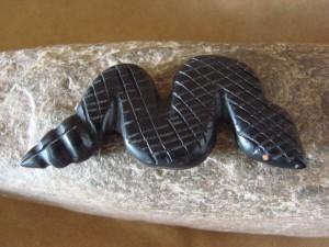 Zuni Indian Hand Carved Jet Rattle Snake Fetish by Justin Red Elk