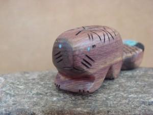 Zuni Indian Carved Cedar Beaver W/Inlay Fetish by Brandon Phillips!