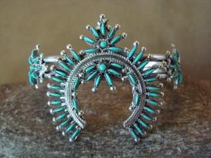 Zuni Indian Jewelry Sterling Silver Turquoise Needlepoint Bracelet Lorna Mahkee