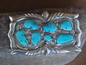 Zuni Indian Jewelry Sterling Silver Turquoise Belt Buckle G & L Leekity