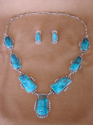Large Navajo Indian Jewelry Turquoise Necklace and Earrings by Rosella Paxton