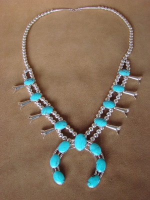 Native American Jewelry Sterling Silver Turquoise Squash Blossom Necklace
