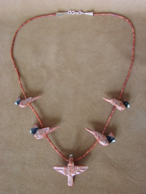 Hand Carved Apple Coral Cardinal Fetish Necklace Matt Mitchell!