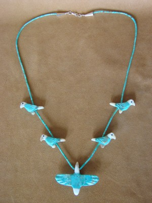 Hand Carved Turquoise Blue Parrot Bird Fetish Necklace by Matt Mitchell!
