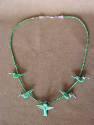 Hand Carved Green Mohave Turquoise Hummingbird Fetish Necklace by Matt Mitchell!
