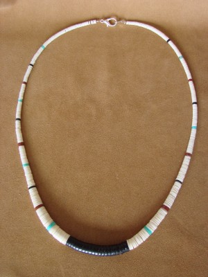 Santo Domingo Indian Hand Strung Jet and Shell Necklace by Delbert Crespin