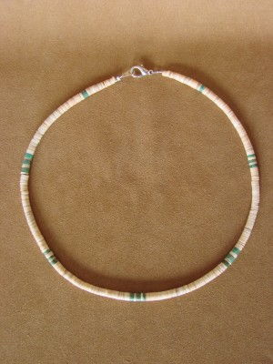 Santo Domingo Indian Hand Strung White Shell and Turquoise Necklace by Delbert Crespin