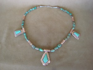 Native American Jewelry Copper & Turquoise Necklace by Running Bear