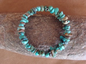 Native Indian Navajo Turquoise Memory Wire Bracelet by Yazzie HV051