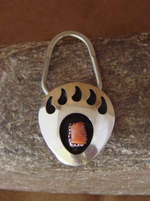 Navajo Indian Hand Made Coral Bear Paw Key Chain by Virginia Johnson