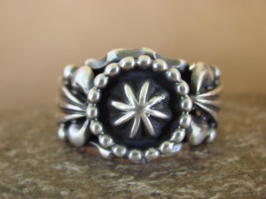 Native American Indian Jewelry Stamped Sterling Silver Ring, Size 10 1/2 Grace Kenneth