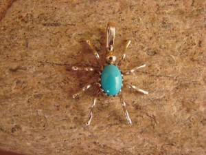 Small Navajo Indian Sterling Silver Turquoise Spider Pendant by Spencer! Jewelry