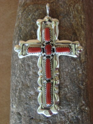 Native American Zuni Indian Sterling Silver Coral Cross Pendant by Lupe Leekity