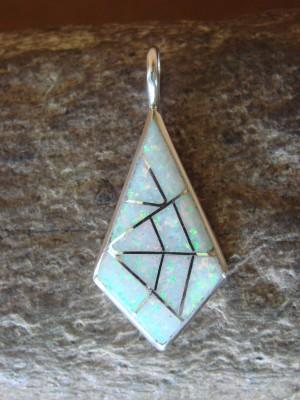 Zuni Indian Sterling Silver Opal Inlay Pendant by Kallestewa