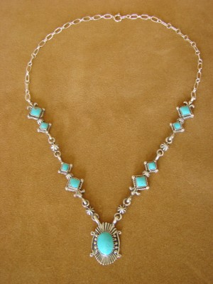 Navajo Jewelry 9 - Stone Turquoise Sterling Silver Link Necklace by Bobby Platero