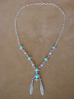 Native American Jewelry Turquoise Sterling Silver Feather Link Necklace by Annie Spencer