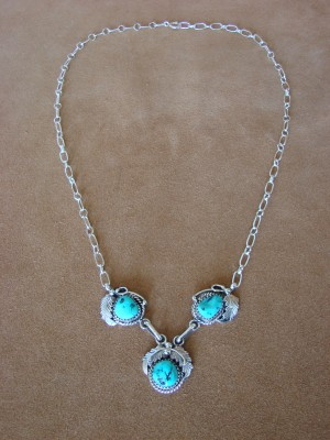 Native American Jewelry Turquoise Sterling Silver Link Necklace by Roberta Begay